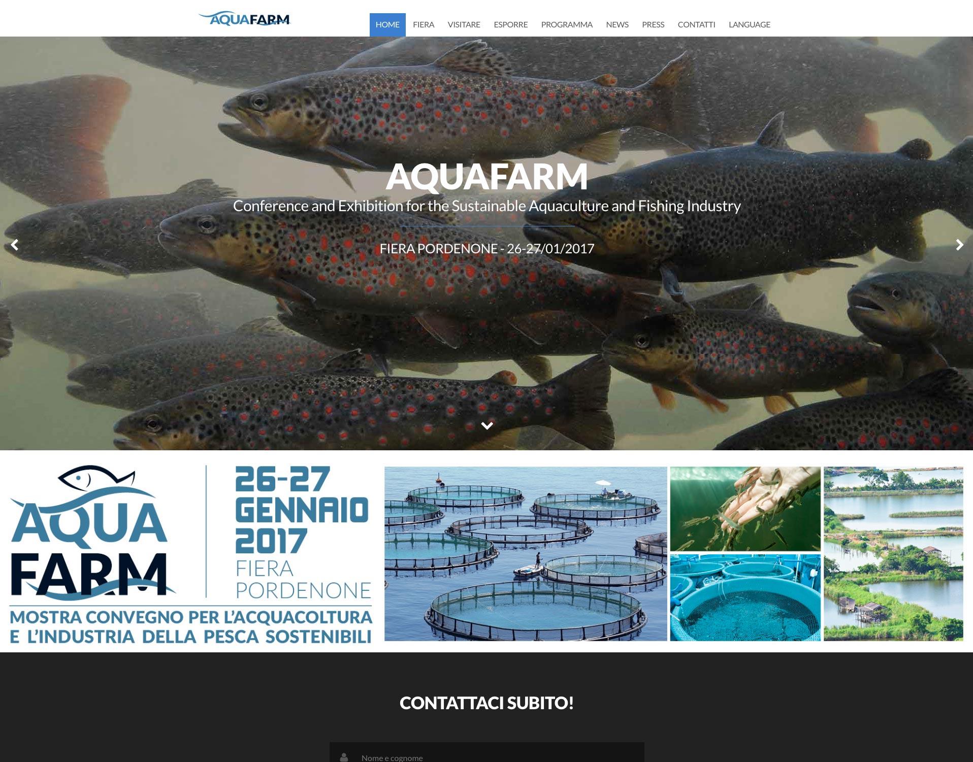 La schermata Home del sito web Acquafarm Show 2017